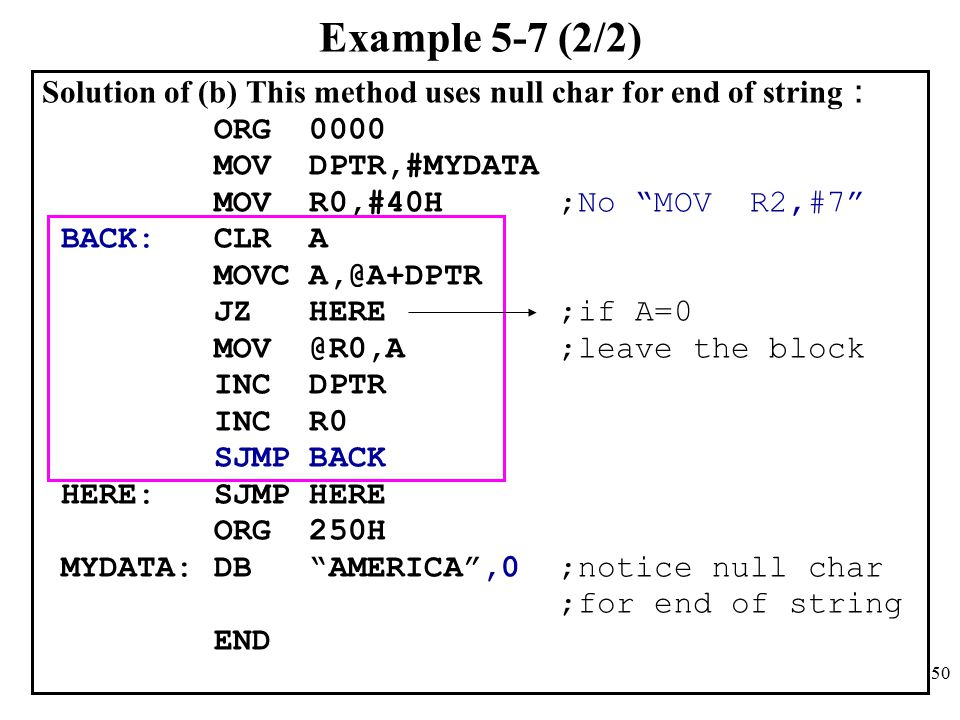 Example 5-7 (2/2) Solution of (b) This method uses null char for end of string: ORG MOV DPTR,#MYDATA.