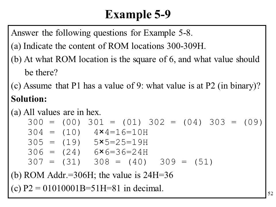 Example 5-9 Answer the following questions for Example 5-8.