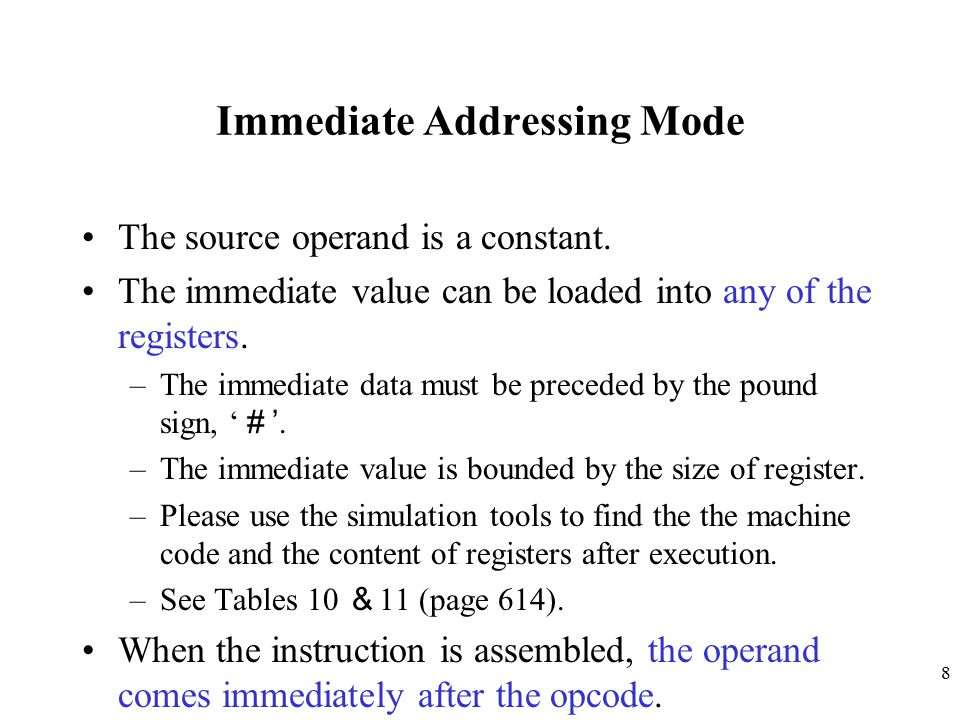 Immediate Addressing Mode