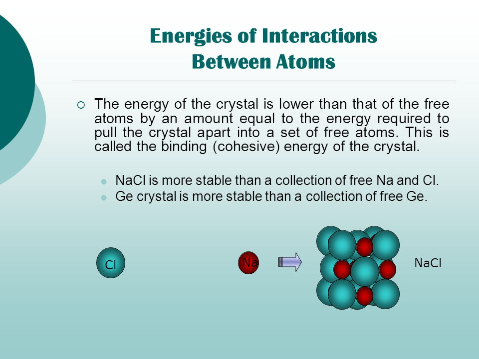 Energies of Interactions Between Atoms