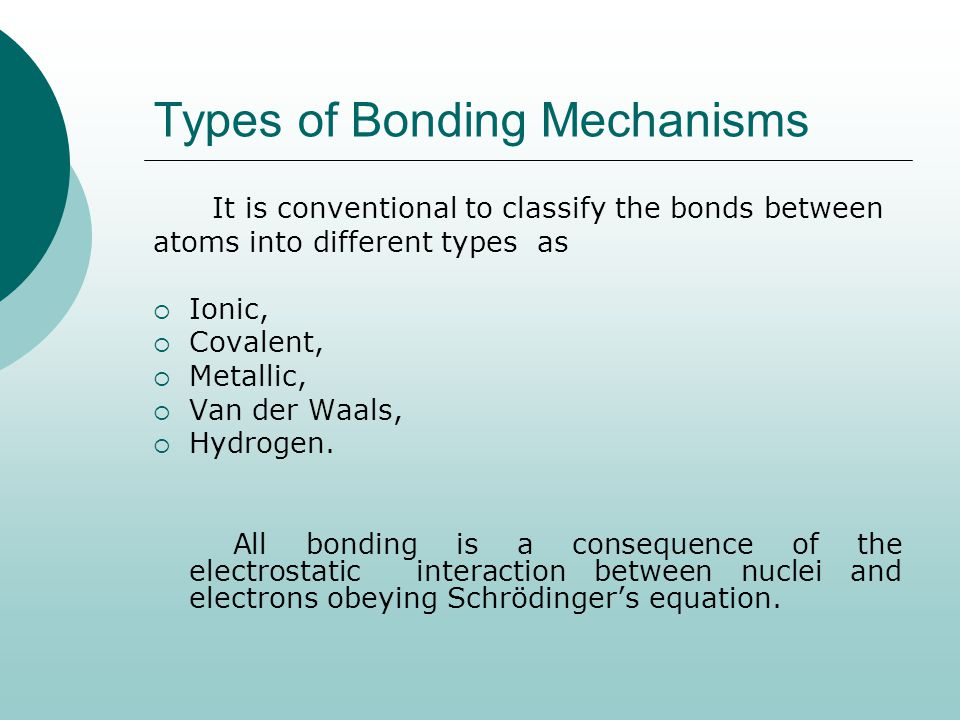 Types of Bonding Mechanisms