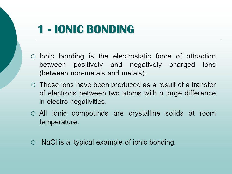 1 - IONIC BONDING