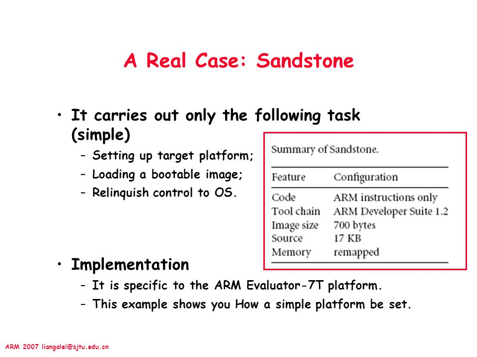 A Real Case: Sandstone It carries out only the following task (simple)