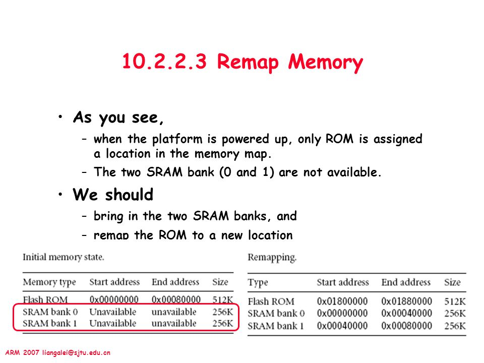 10.2.2.3 Remap Memory As you see, We should