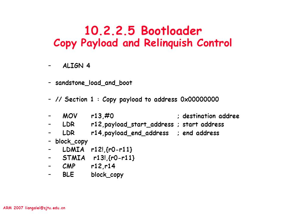 10.2.2.5 Bootloader Copy Payload and Relinquish Control