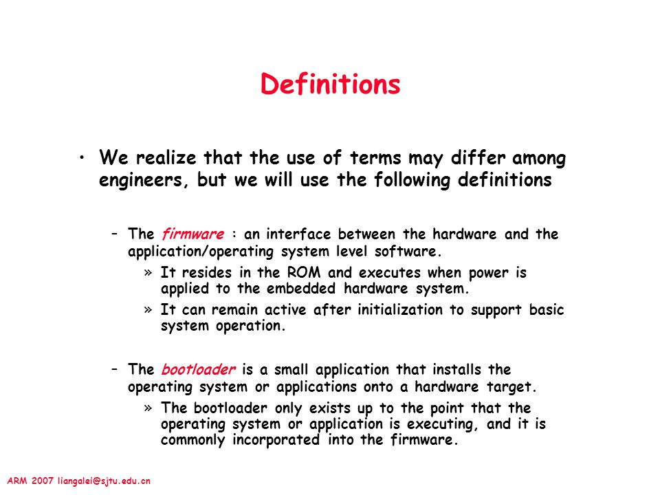 Definitions We realize that the use of terms may differ among engineers, but we will use the following definitions.