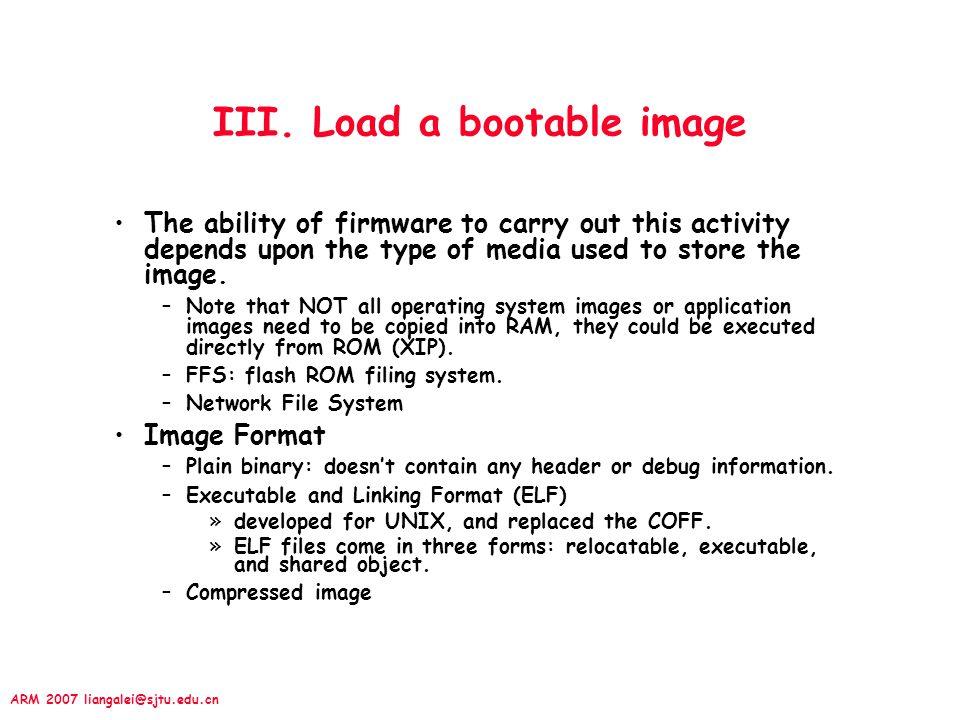 III. Load a bootable image