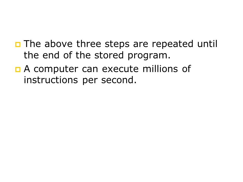 The above three steps are repeated until the end of the stored program.