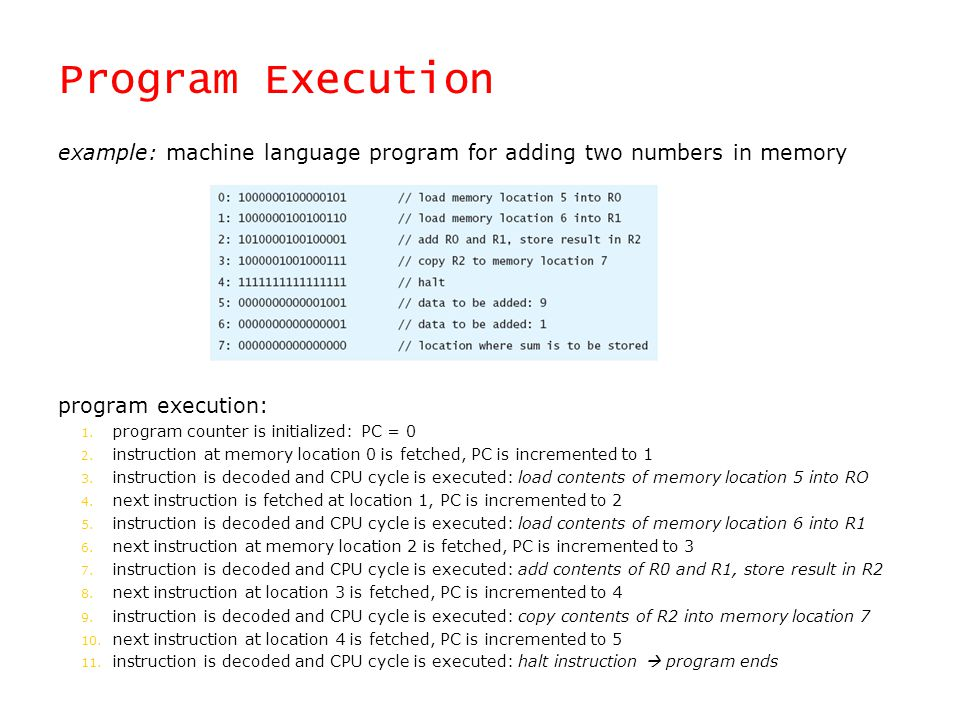 Program Execution example: machine language program for adding two numbers in memory. program execution: