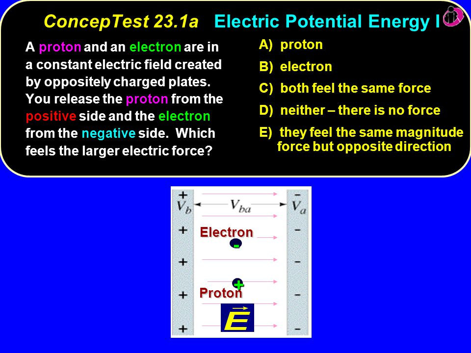 ConcepTest 23.1a Electric Potential Energy I
