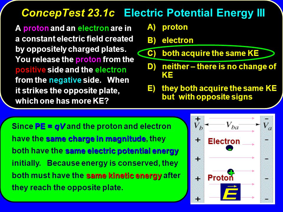 ConcepTest 23.1c Electric Potential Energy III