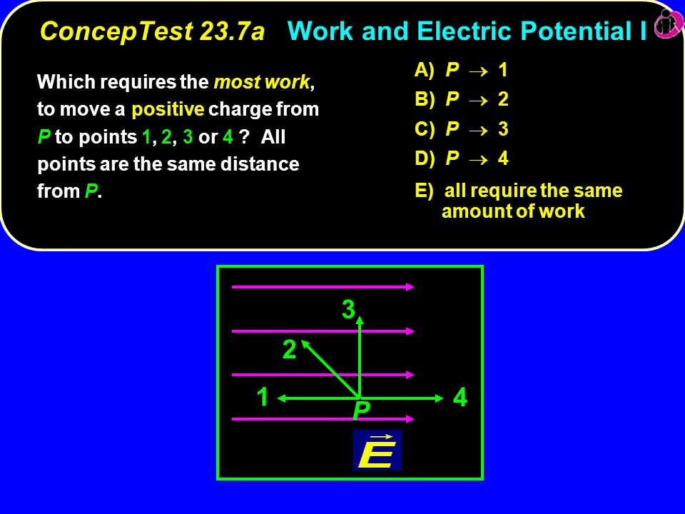 ConcepTest 23.7a Work and Electric Potential I