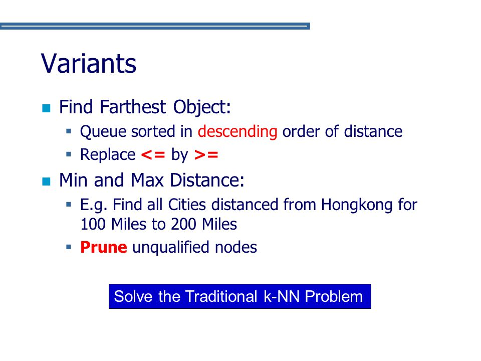 Variants Find Farthest Object: Min and Max Distance: