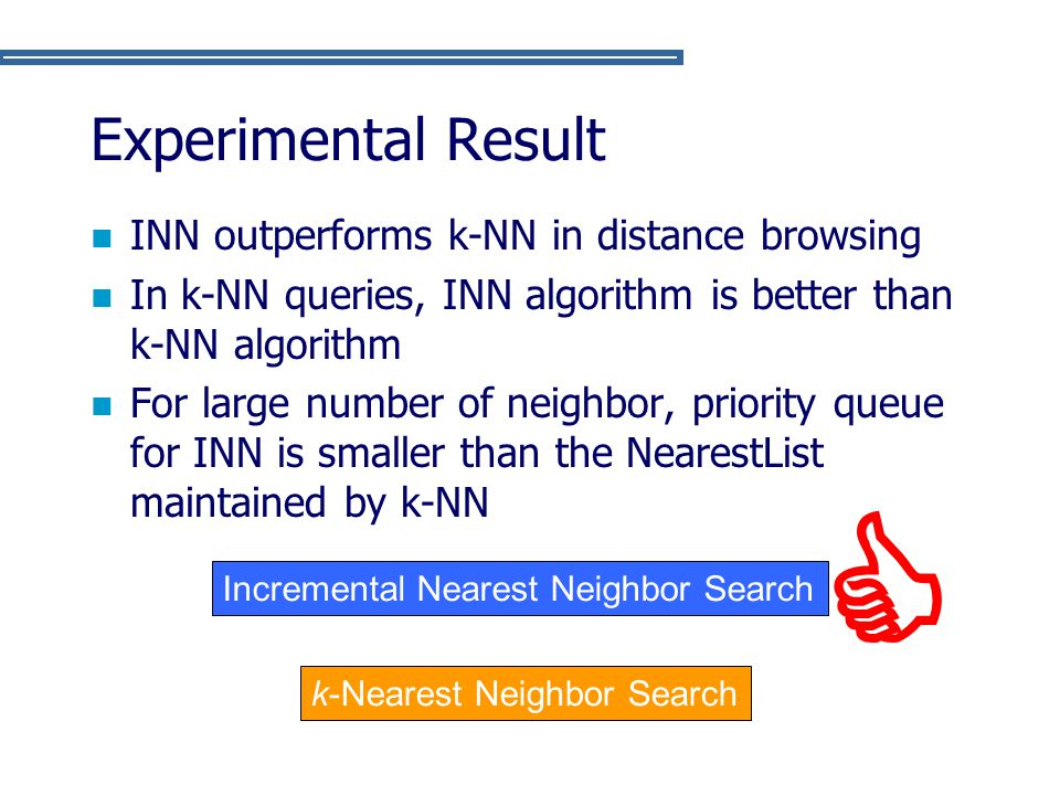  Experimental Result INN outperforms k-NN in distance browsing