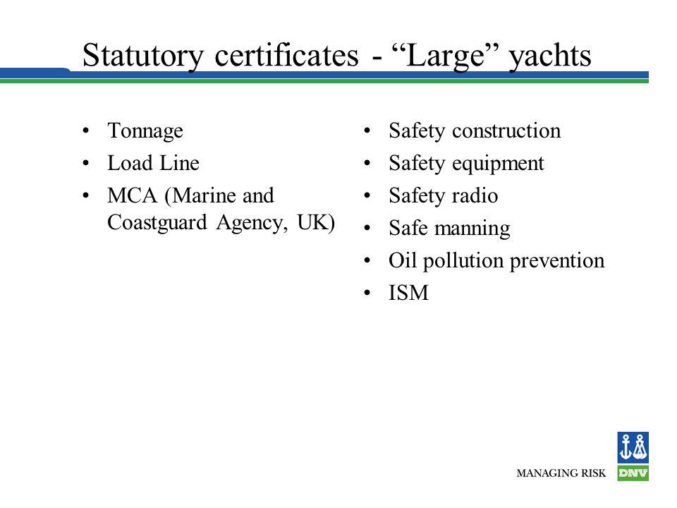 Statutory certificates - Large yachts