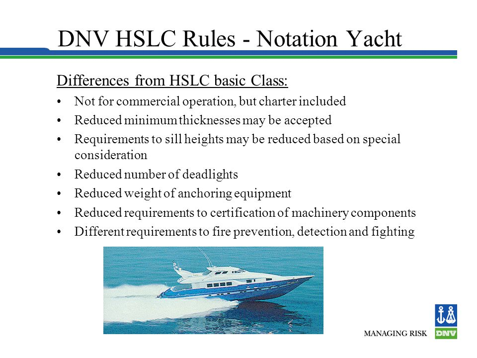 DNV HSLC Rules - Notation Yacht