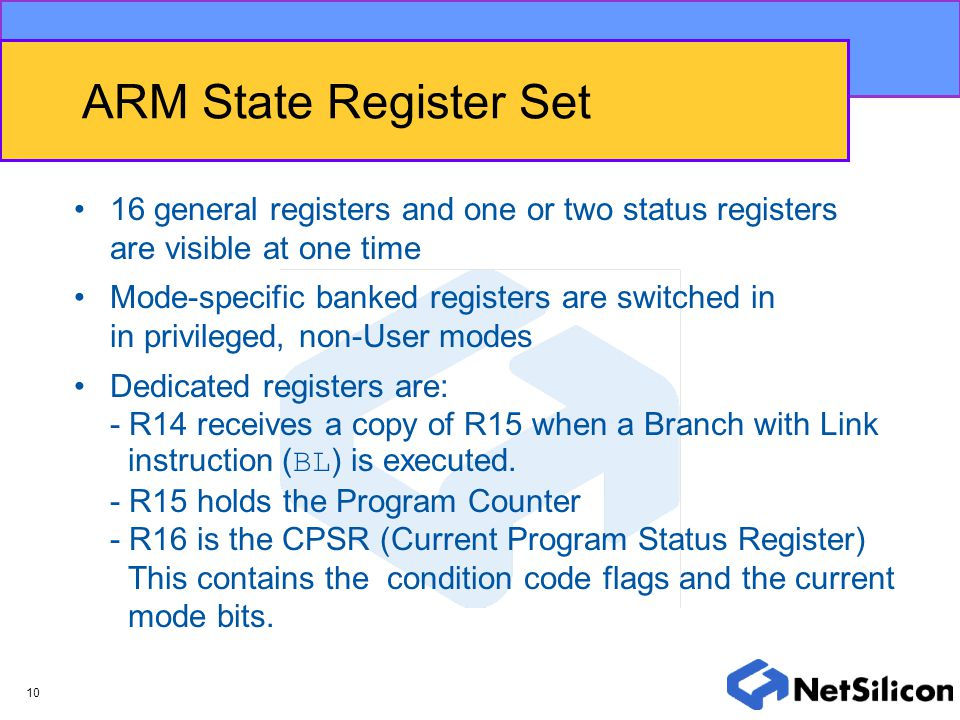 ARM State Register Set 16 general registers and one or two status registers are visible at one time.