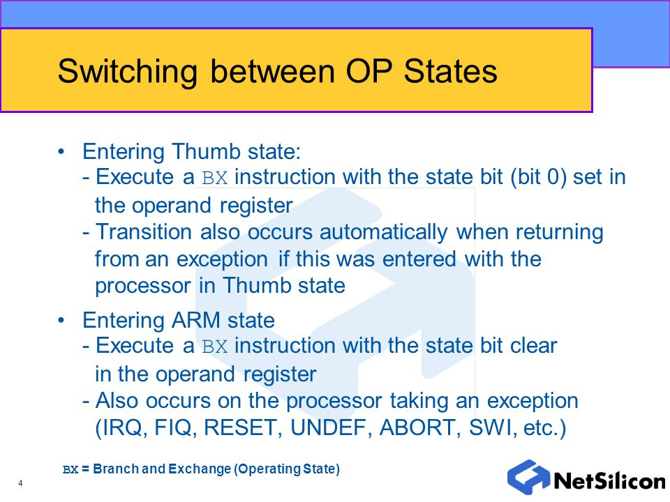 Switching between OP States
