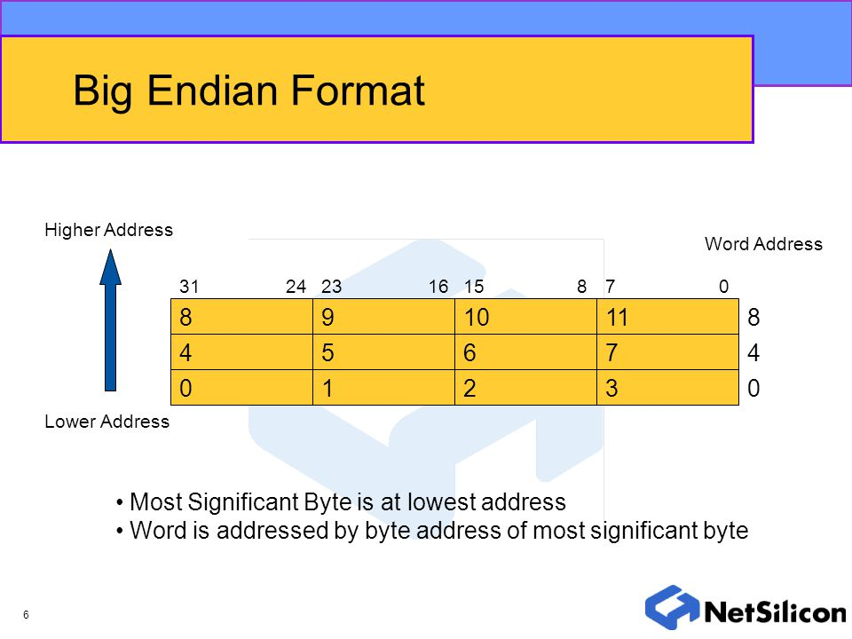 Big Endian Format Higher Address. Word Address. 31. 24. 23. 16. 15. 8. 7. 8. 9. 10. 11.