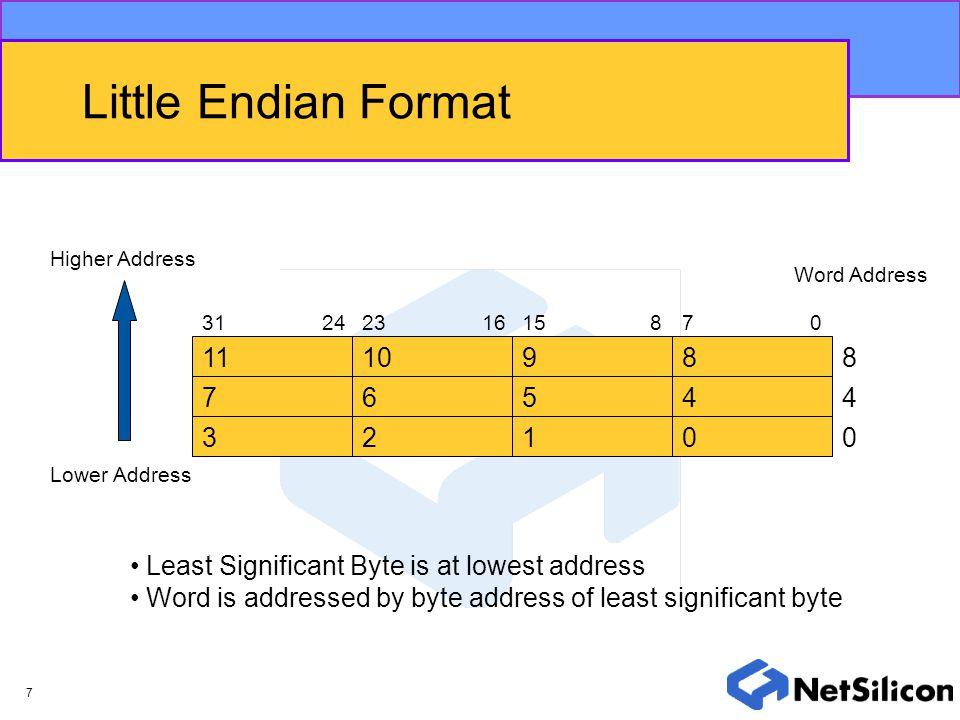Little Endian Format Higher Address. Word Address. 31. 24. 23. 16. 15. 8. 7. 11. 10. 9. 8.