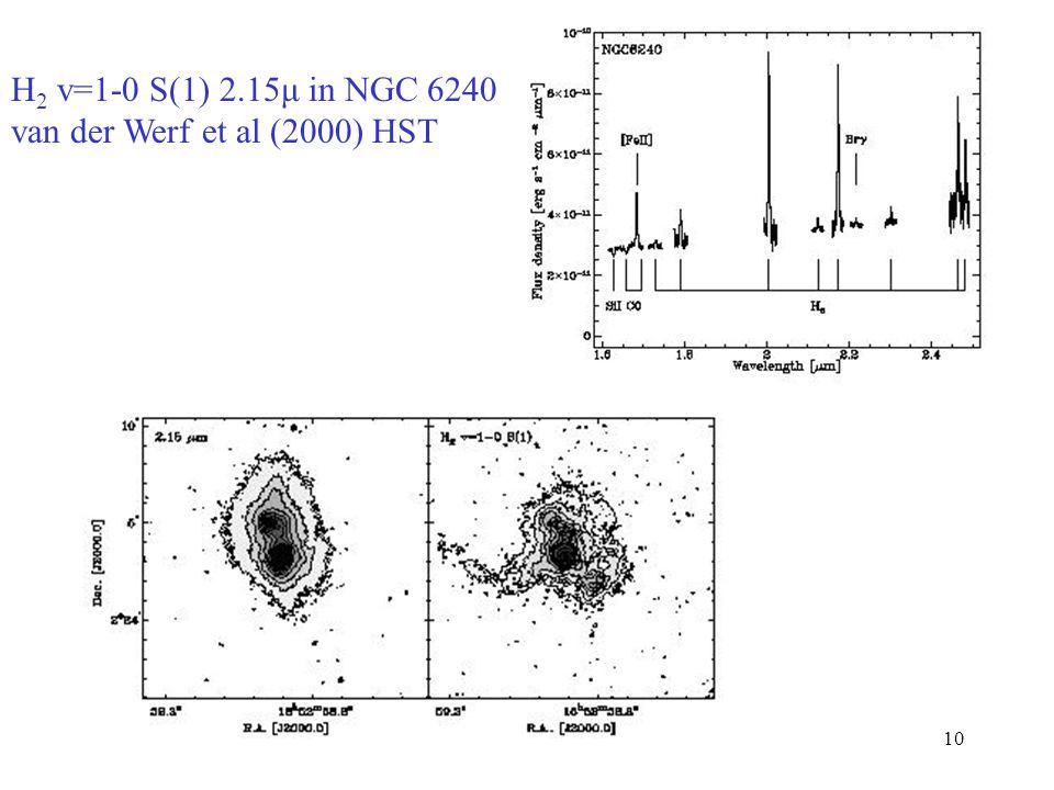 H2 v=1-0 S(1) 2.15μ in NGC 6240 van der Werf et al (2000) HST