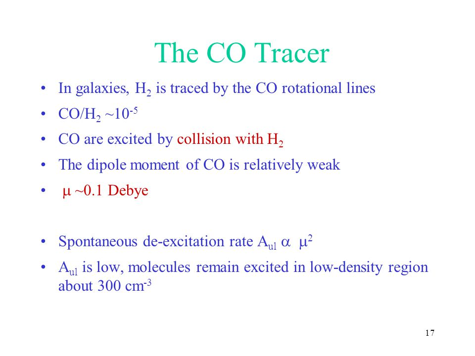 The CO Tracer In galaxies, H2 is traced by the CO rotational lines