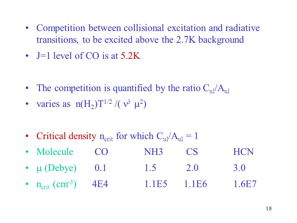 Competition between collisional excitation and radiative transitions, to be excited above the 2.7K background