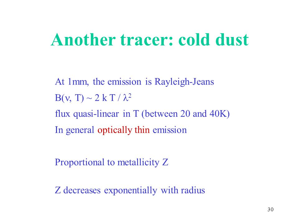Another tracer: cold dust