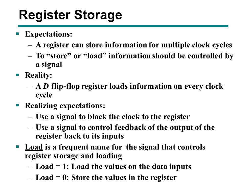 Register Storage Expectations: