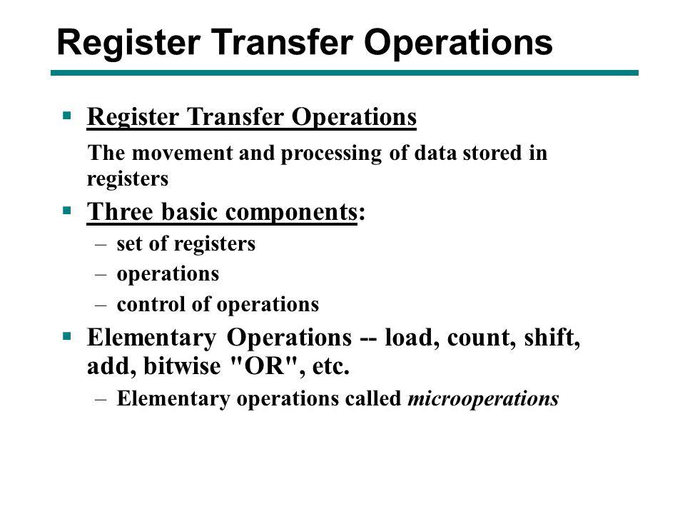 Register Transfer Operations