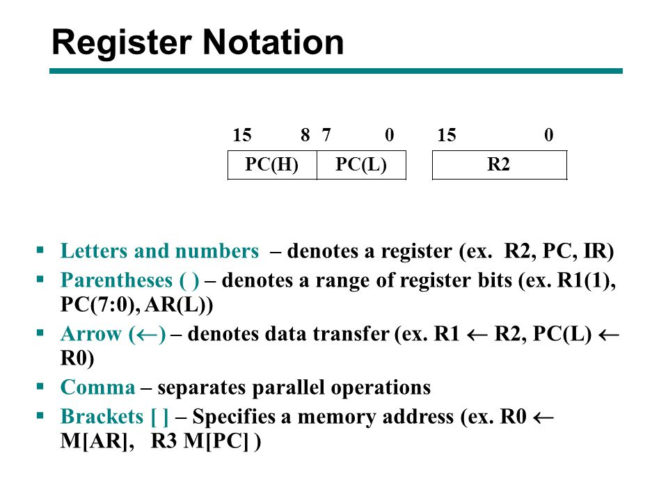 Register Notation Letters and numbers – denotes a register (ex. R2, PC, IR)