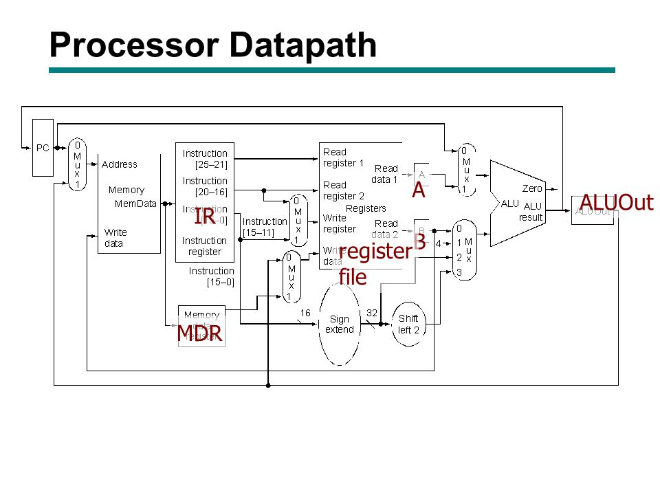 Processor Datapath A ALUOut IR B register file MDR