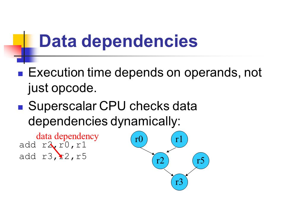 Data dependencies Execution time depends on operands, not just opcode.