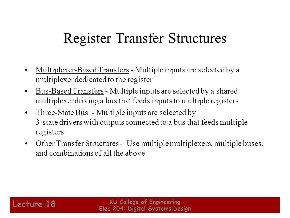 Register Transfer Structures