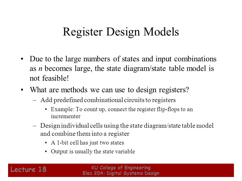 Register Design Models