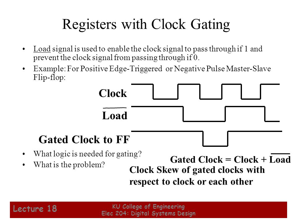 Registers with Clock Gating