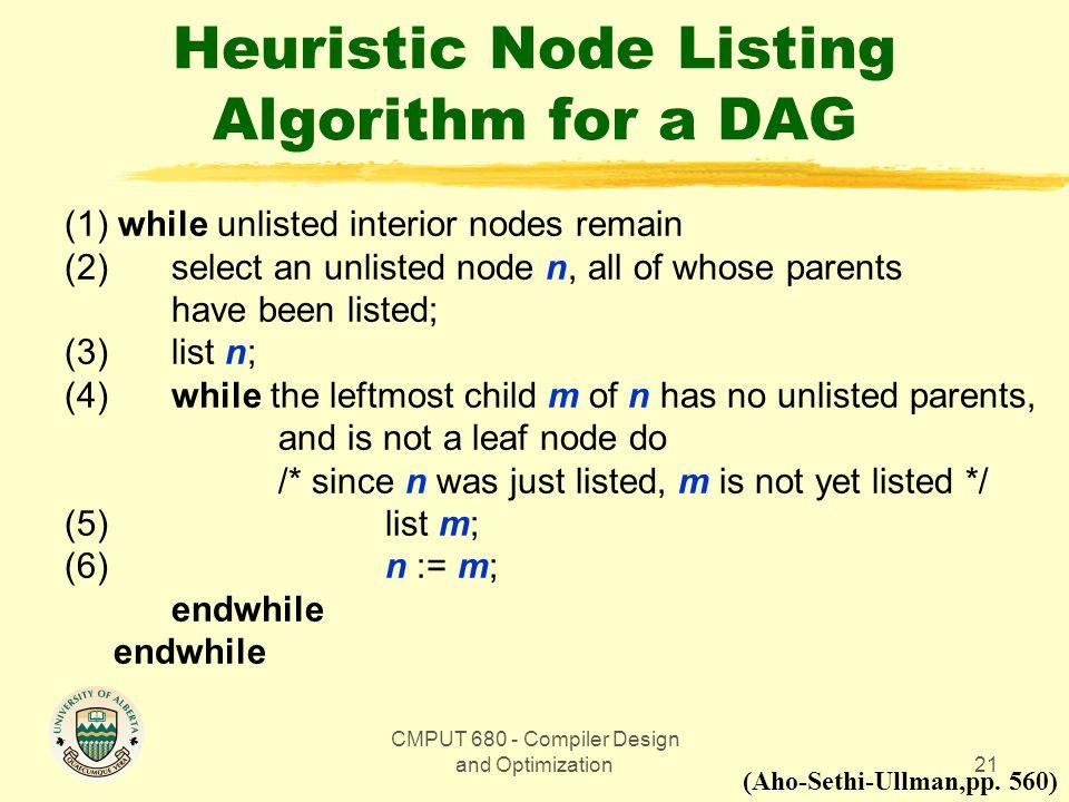 Heuristic Node Listing Algorithm for a DAG