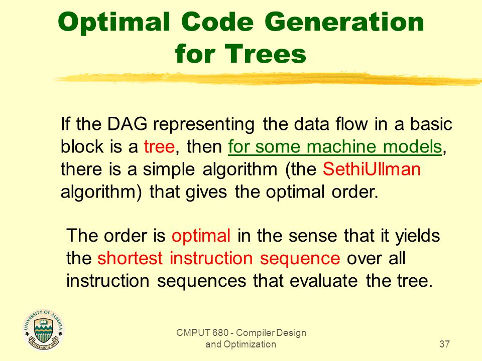 Optimal Code Generation for Trees
