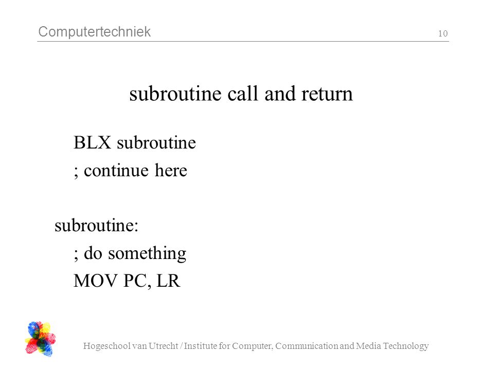 subroutine call and return