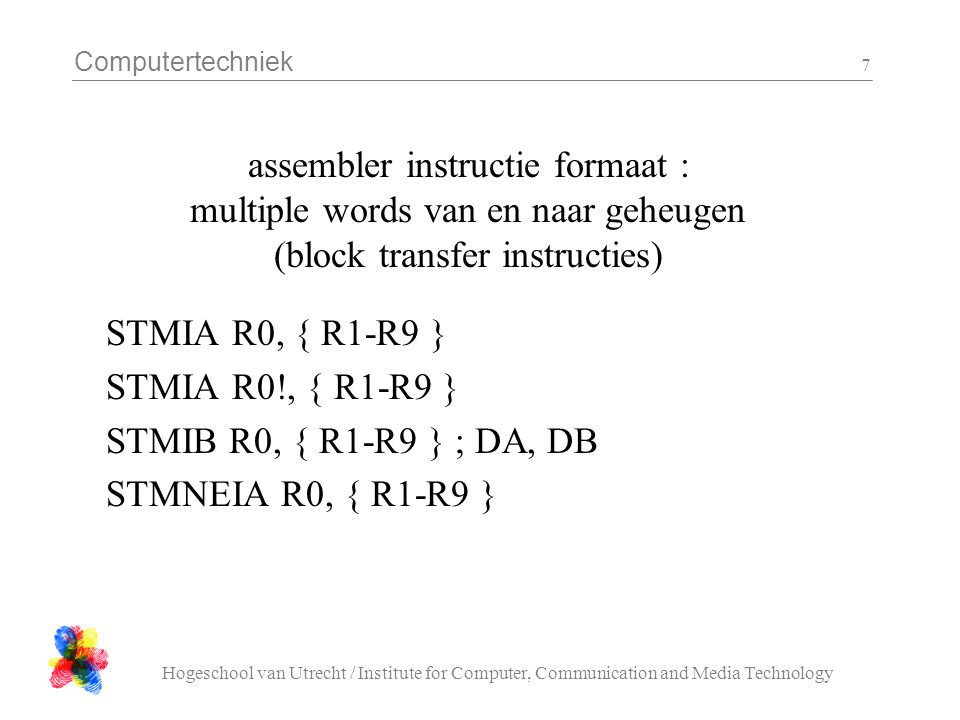 assembler instructie formaat : multiple words van en naar geheugen (block transfer instructies)