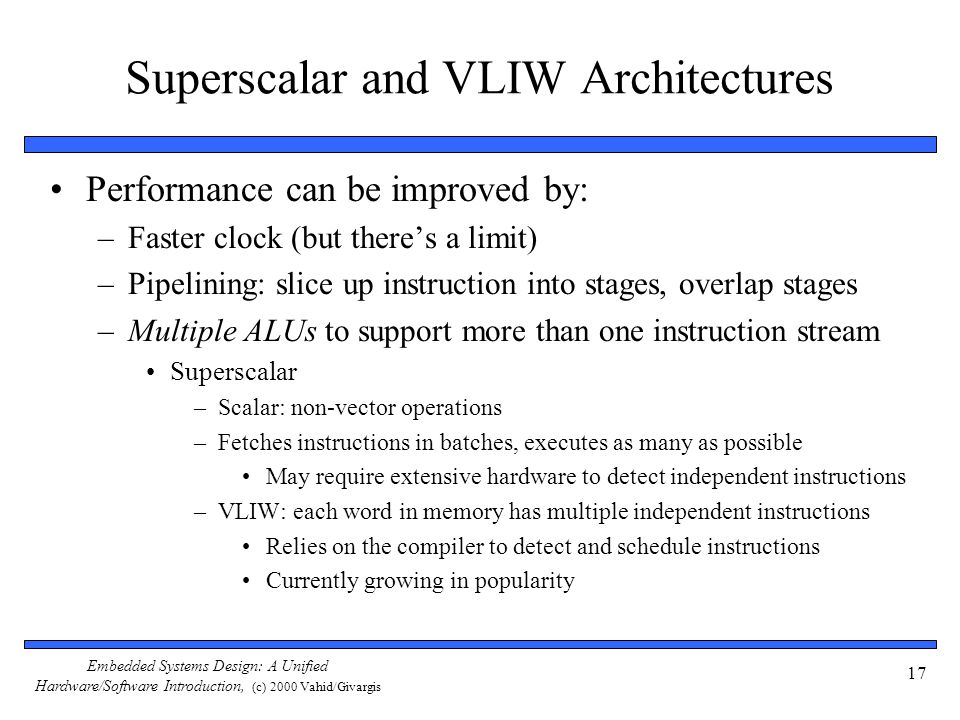 Superscalar and VLIW Architectures