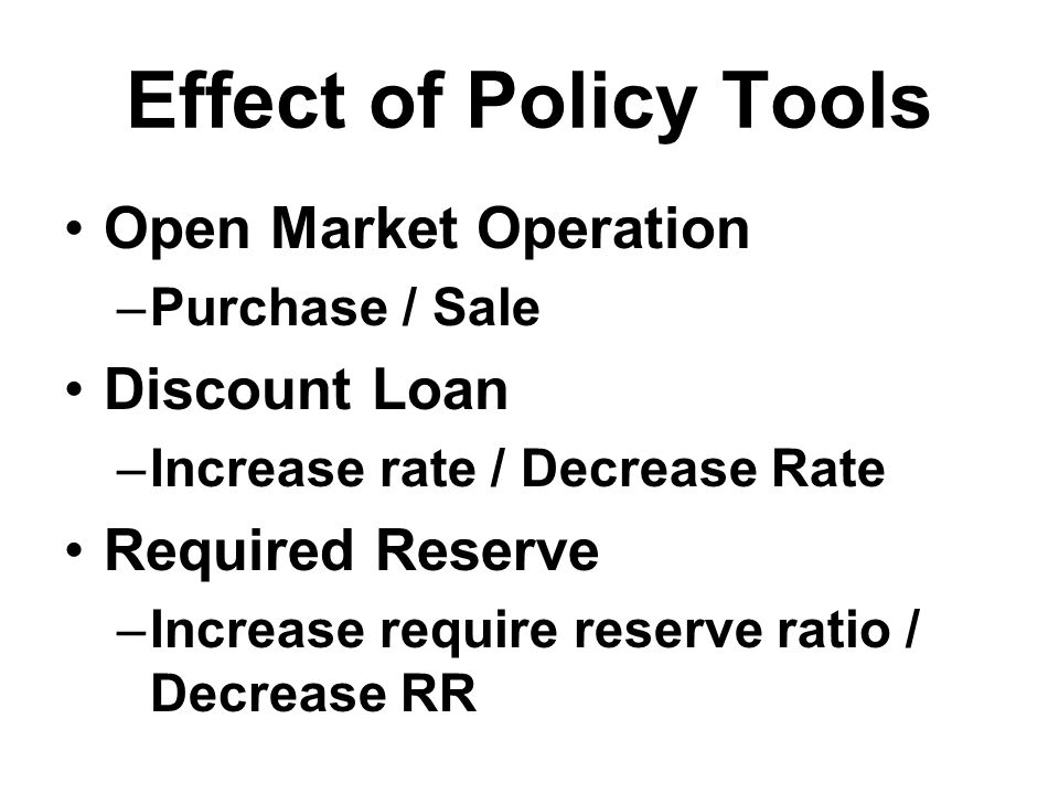 Effect of Policy Tools Open Market Operation Discount Loan
