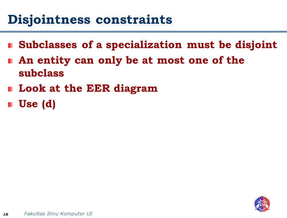 Disjointness constraints