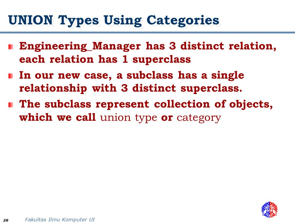 UNION Types Using Categories