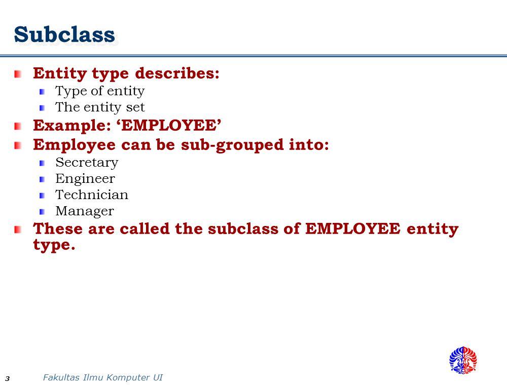 Subclass Entity type describes: Example: 'EMPLOYEE'