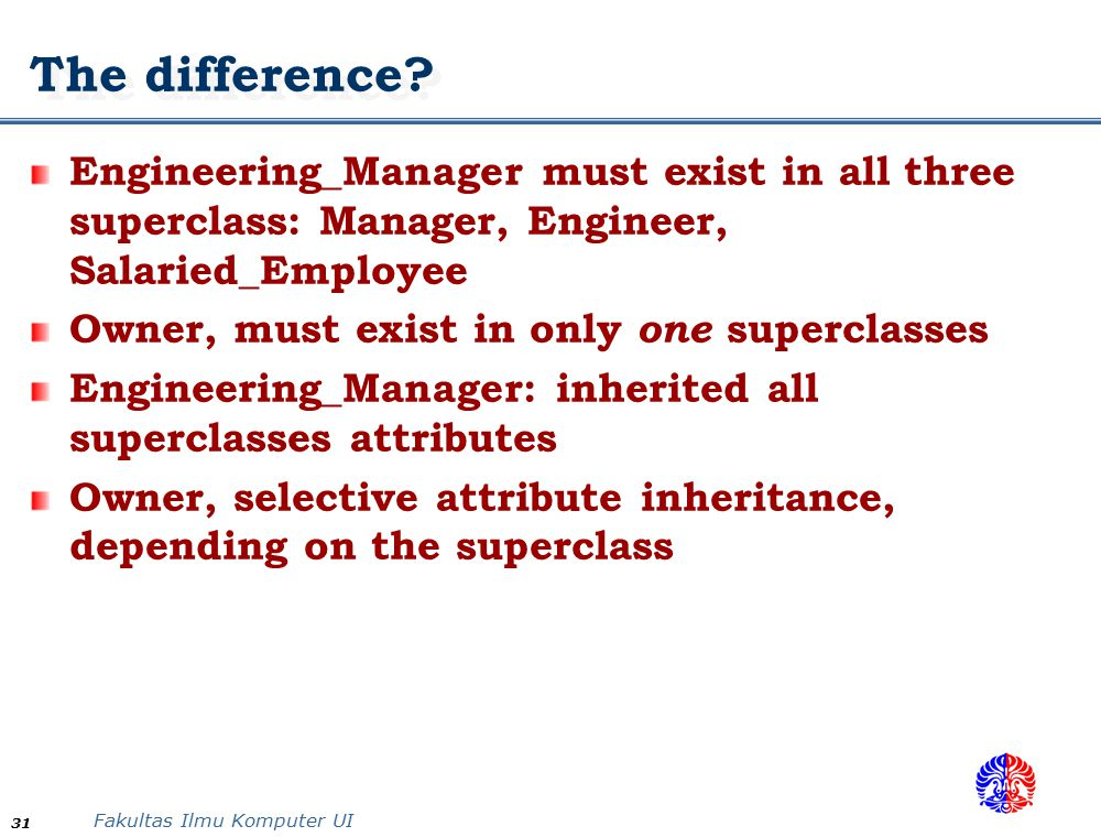 The difference Engineering_Manager must exist in all three superclass: Manager, Engineer, Salaried_Employee.