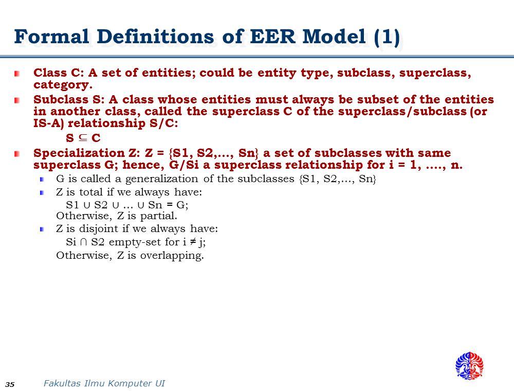 Formal Definitions of EER Model (1)