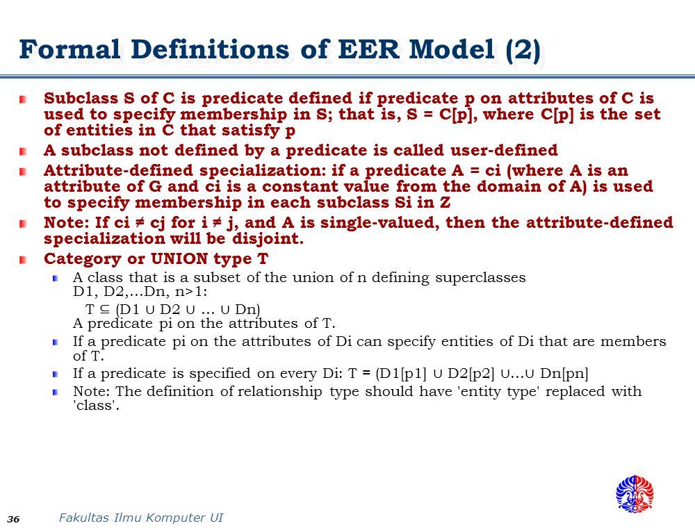 Formal Definitions of EER Model (2)