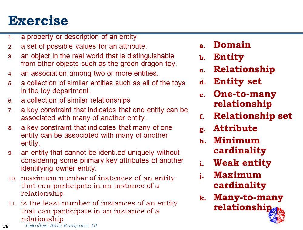 Exercise Domain Entity Relationship Entity set
