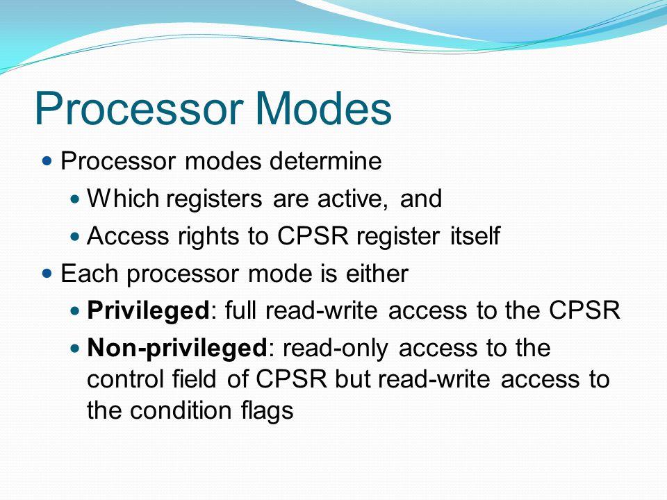 Processor Modes Processor modes determine